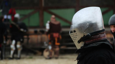 Medieval soldier accepting challenge, starting attack on rival in tournament Footage