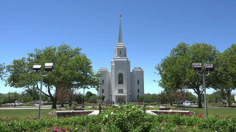 LDS Mormon Brigham City Temple garden front entrance 4K 007 Footage