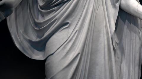 Jesus Christ Christus statue Mormon LDS Temple tilt up 4K Footage