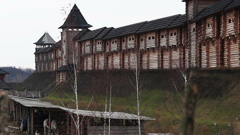 Historical ancient installations of old wooden fortress with high towers Footage