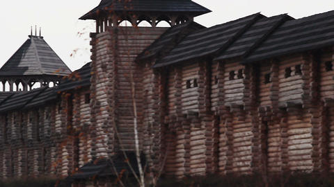 Panorama of an old wooden castle with watchtowers. Historical architecture Footage