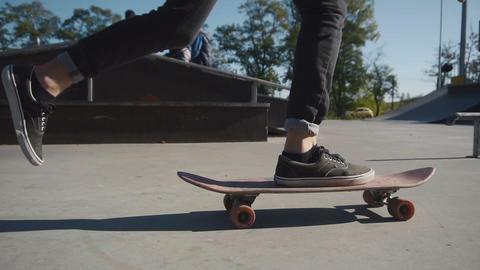 Skateboarder jump on his skateboard Footage