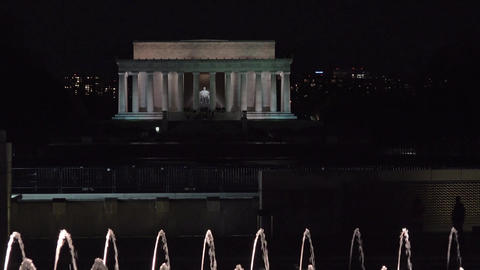 Lincoln Monument night over fountain Washington DC 4K 010 Footage