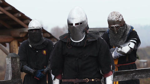 Medieval knights and their rivals waiting and preparing for the fierce battle Live Action