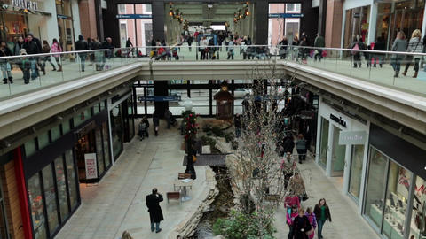 Luxury shopping mall busy holiday shoppers slow motion HD 0260 Footage
