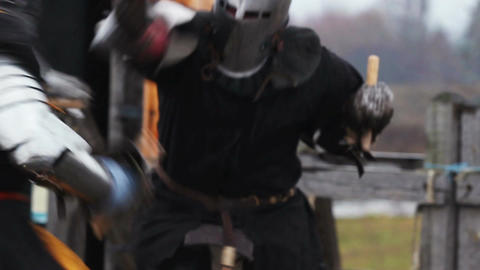 The medieval tussle of two strong knights. Resentment, cruelty and revenge Footage