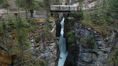 Maligne Canyon gorge bridge P HD 7637 Footage
