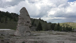 Mammoth Hot Springs Yellowstone Park dry geyser tower 4K Footage
