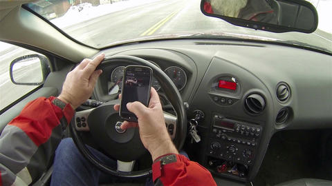 Man drives and text in cell phone as driving HD 162 Footage