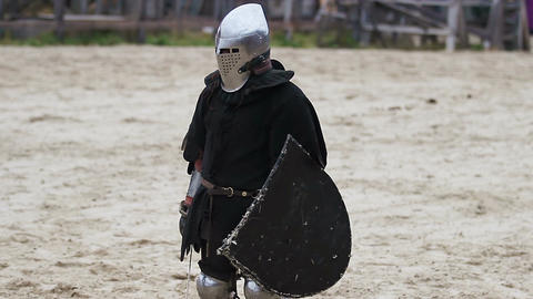 Knights starting a fight. Medieval military atmosphere. Two rivals fighting Live Action