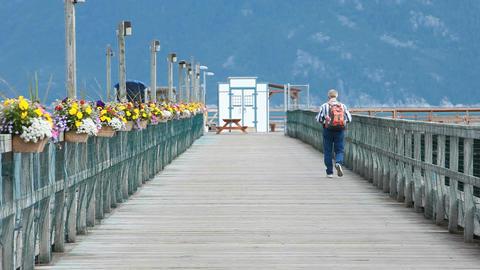 Man walks out on pier dock P HD 0057 ビデオ