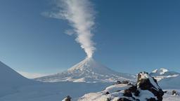 View on erupting Klyuchevskaya Sopka - active volcano of Kamchatka Footage