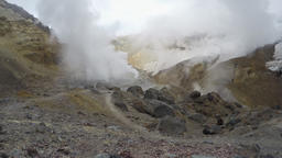 Crater of active volcano: thermal field, hot spring, fumarole (time lapse, 4K) Footage