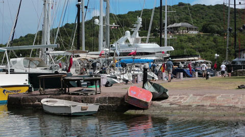 Marina Antigua Island Nelsons Dock boats bay HD 1202 Footage