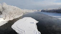 Winter landscape: beautiful view of Kamchatka River. Russian Far East, Eurasia Footage