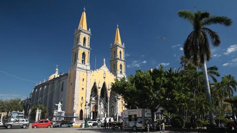 Mazatlan church town square P HD 4757 Footage