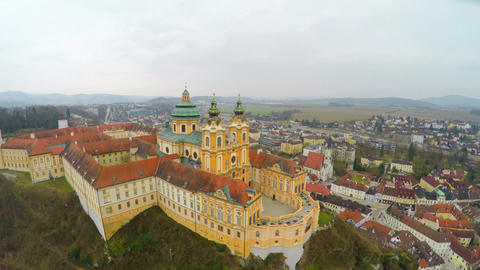 Courtyard of old catholic abbey, beautiful baroque style building, aerial view Footage