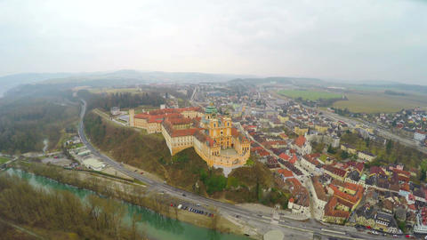 Aerial view of Melk Abbey in Austria and the River Danube. Winter, cold weather Live Action