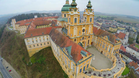 Amazing flyover view of Melk Abbey, Austria. Beautiful building in Baroque style Live Action