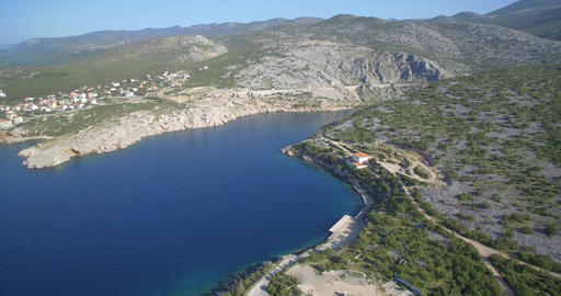 Aerial, Coastline In Croatia - Native Material, straight out of the cam Footage