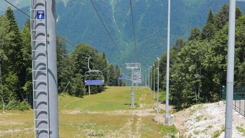 Chairlift above ski slope. Sochi, Russia Footage