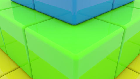 Pyramid of toy cubes in various colors Animation