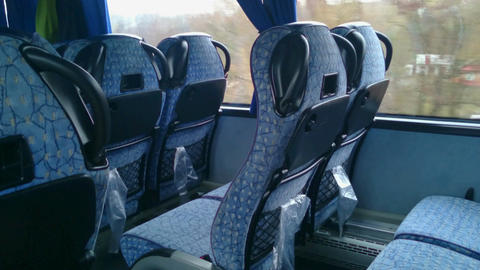 No people inside a low budget bus, empty seats, off-season. Economy class travel Footage