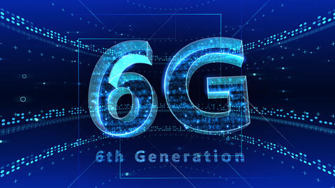 6G Digital Network technology 6th generation mobile communication concept background 2 F1 blue 4k Animation