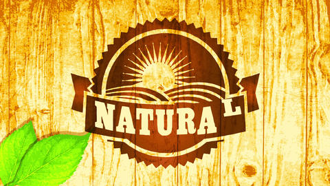 natural vegan food business brand theme with wood engraving style on varnished background and leaves Animation