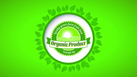 farmers market retailer products offering fresh organic food with white sphere icon surrounded with Animation