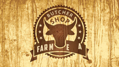 western style butcher shop cow head sign promoting farm fresh meat engraved in lacquered wooden Animation
