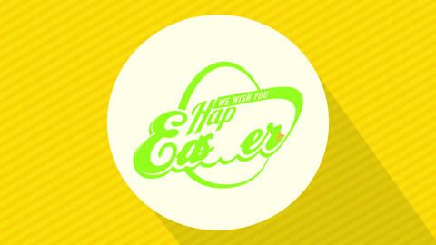we wish you happy easter holiday announcement flag with vivid colors and futuristic typeface on Animation