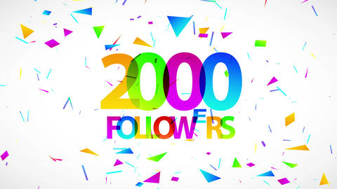 2000 followers gala sign for people giving knowledge with partner creating numeric union binding Animation