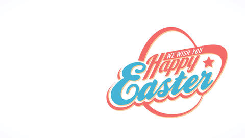 one wish you happy easter advertising with 80s futuristic style with an abstract egg detailed bound Animation