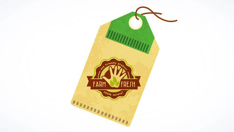 recycled tag for eco friendly natural farm fresh product manufactured following green procedures Animation