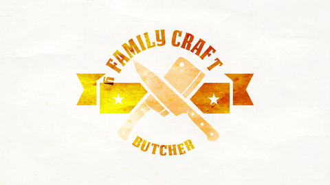 family farm craft butchery retail market ad with crossed knives on distinctive graphic representing Animation