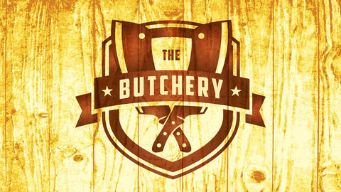cowboy western style emblem for butchery with retro elements and meat knives on wood texture Animation