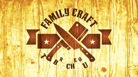 scorched wood symbol for family craft butchery or meat and food product business with crossed Animation
