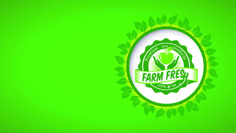 green ad with sprout curve for ranch fresh premium 100 percent organic eco products with Animation