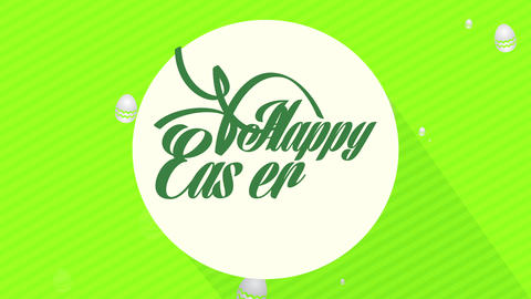happy easter holiday reception cardboard with calligraphy on white circle in center of green lined Animation