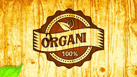 100 percent organic fresh food icon impressed on brilliant wood surface supporting local agriculture Animation