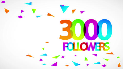 social media advertising announcing 3000 followers success for confident vlogger with confetti and Animation