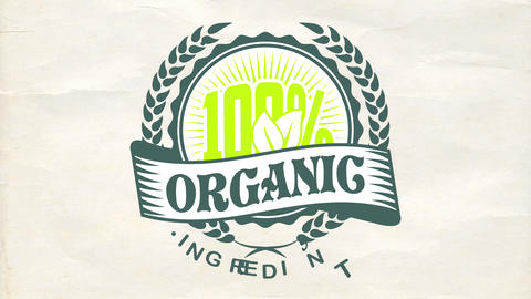 100 percent organic ingredients food products publicity with elegant rounded emblem on wrinkled Animation