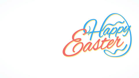 minimalist cheerful easter calling letter with a popular eggs figure forming from cursive writing Animation