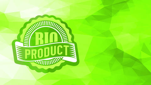 mini healthy fresh bio food product symbol pasted in right bottom corner of green conceptual Animation