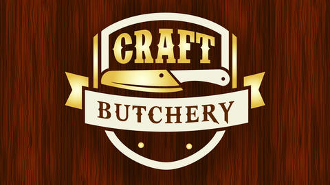 elegant golden craft butchery icon for quality meat cut specialty over waxed floor texture surface Animation