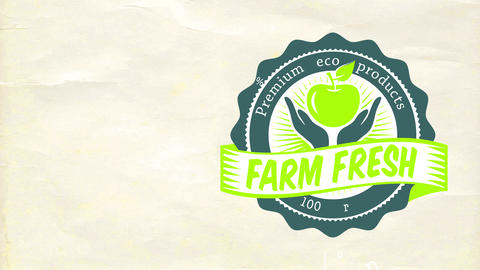 100 percent vital pure premium eco good for farmer storage advertisement with old-fashioned typeface Animation