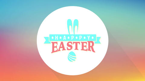 happy easter art and craft festive message with multicolored elements for tradition event Animation