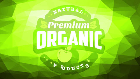 corporate image for premium natural organic products with small print on corner of green background Animation