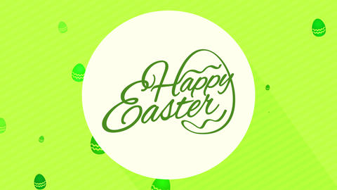 minimalist cheerful easter diner party invite handling tones of green in cursive offset and Animation